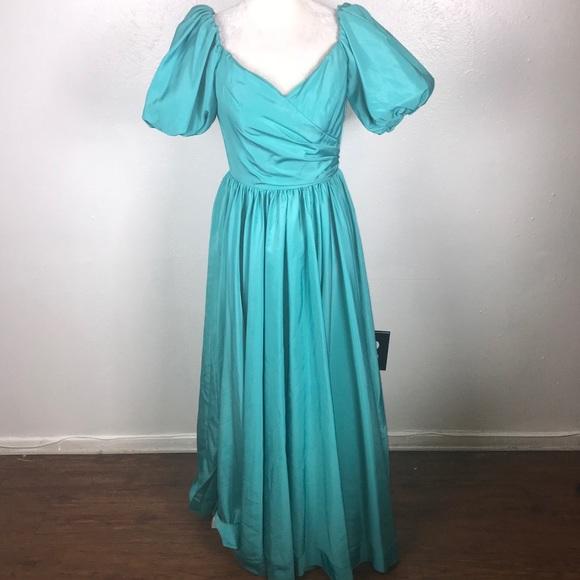 Vintage Dresses 80s Formal Prom Dress Teal Puff Sleeves 6 Poshmark